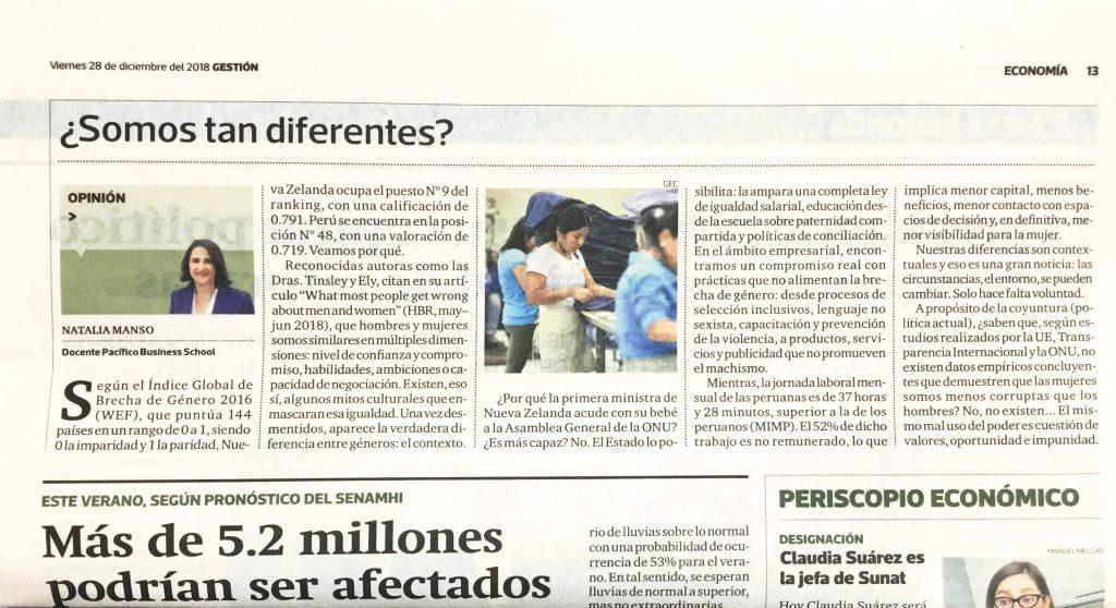Artículo Diario Gestión de Natalia Manso sobre Brecha de género.
